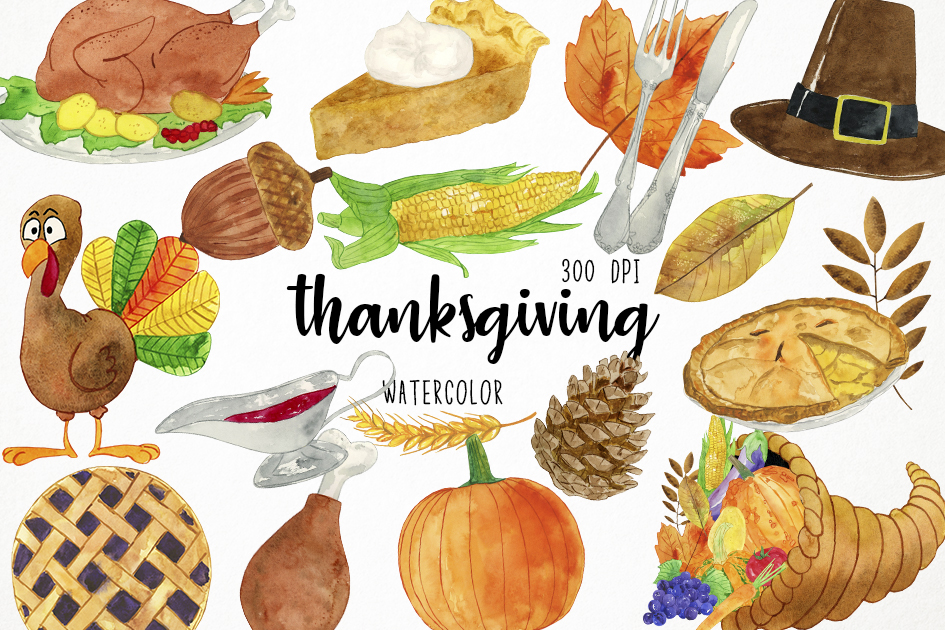 Thanksgiving harvest. Watercolor clipart
