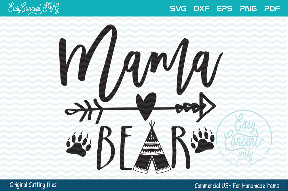 Mama bear svg cut file, SVG - DXF - PNG - EPS - PDF Original Cut files example image 1