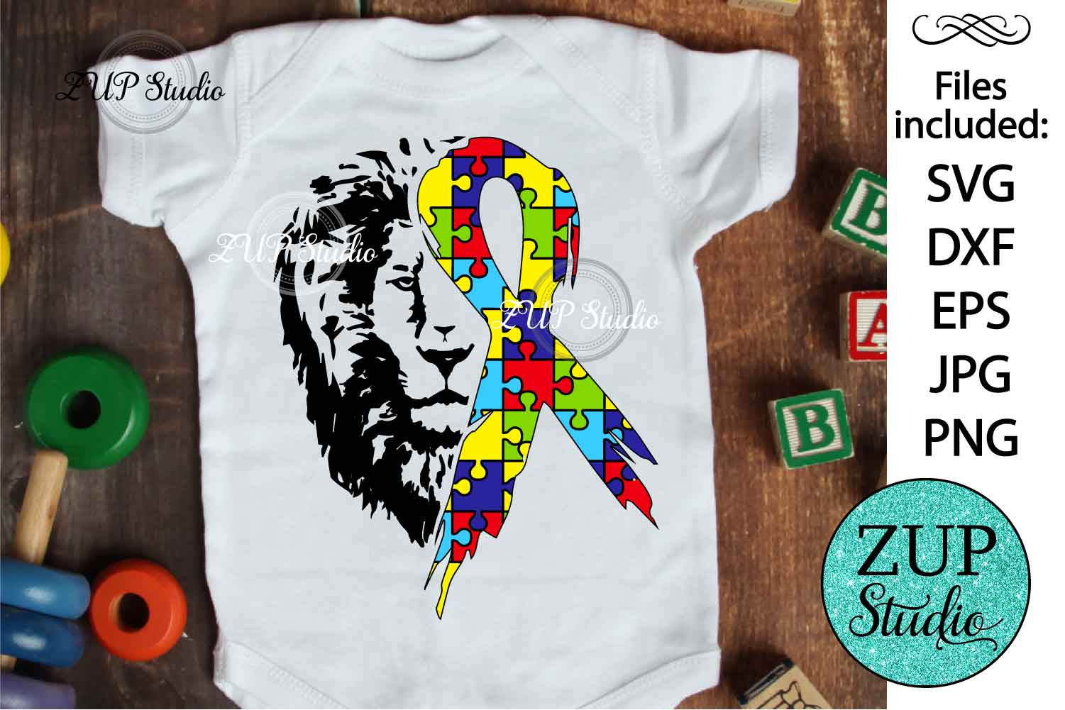 Lion with Autism Ribbon svg design 463 example image 1