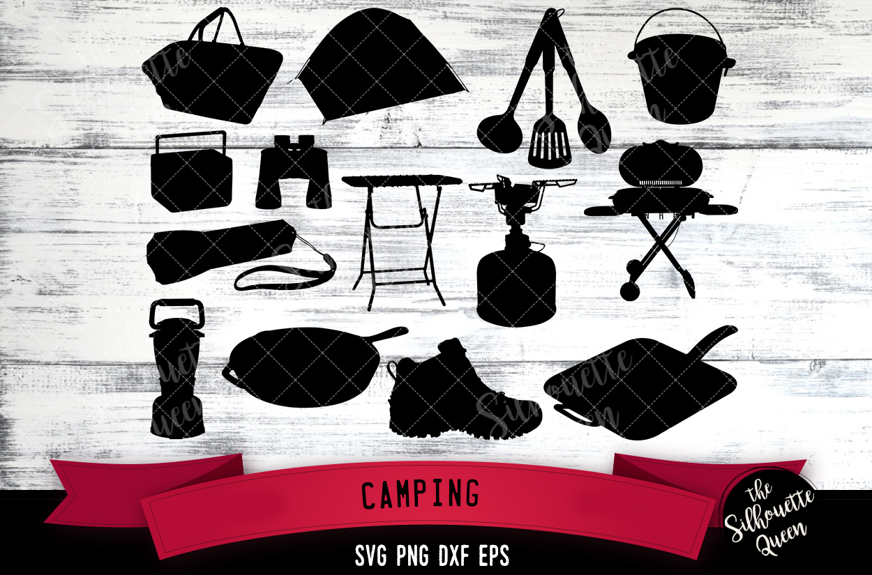 Camping Gear svg file, svg cut file, silhouette studio example image 1