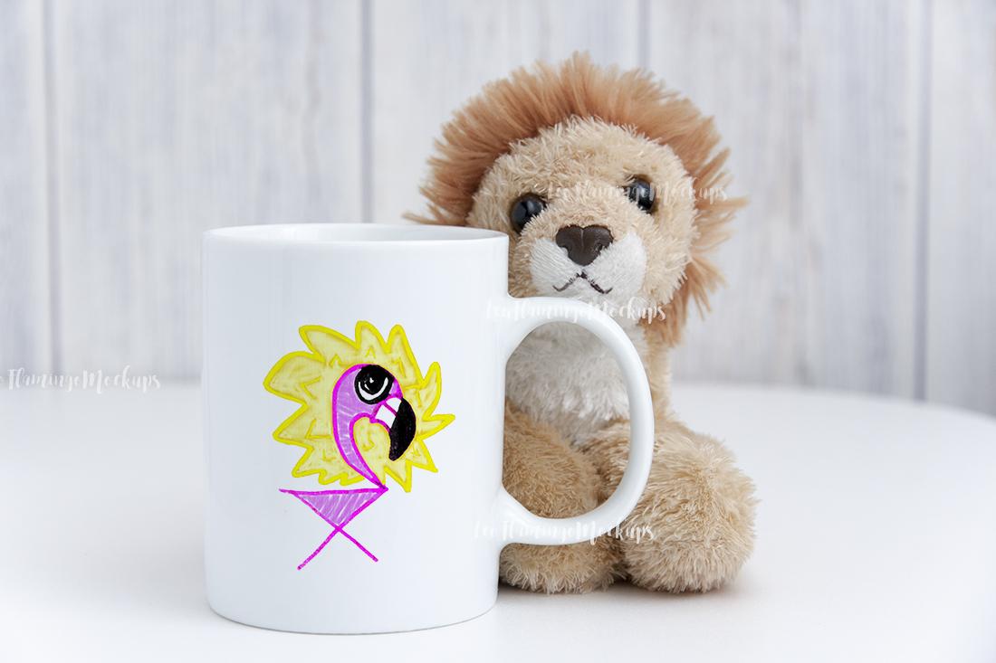 White digital coffee mug mock up kids toy background example image 5