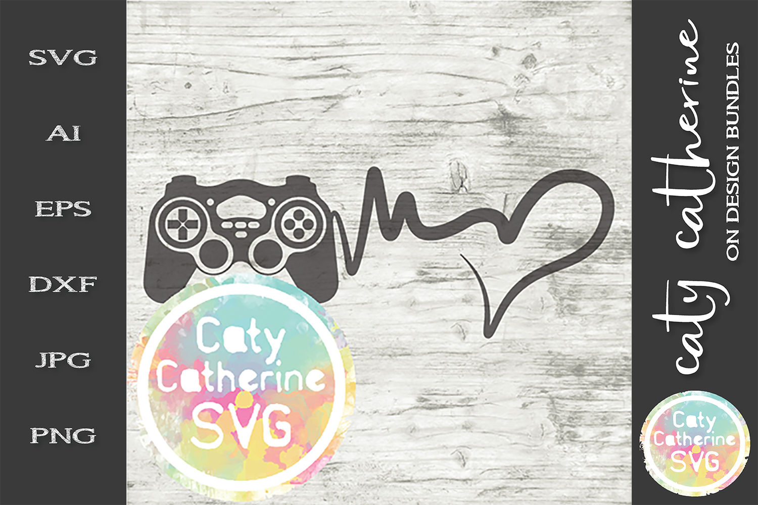 Heartbeat Love Heart Gaming SVG Cut File example image 1