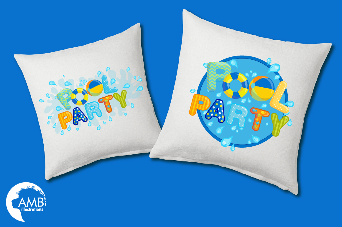 Pool party elements clipart, graphics pack AMB-1260 example image 4