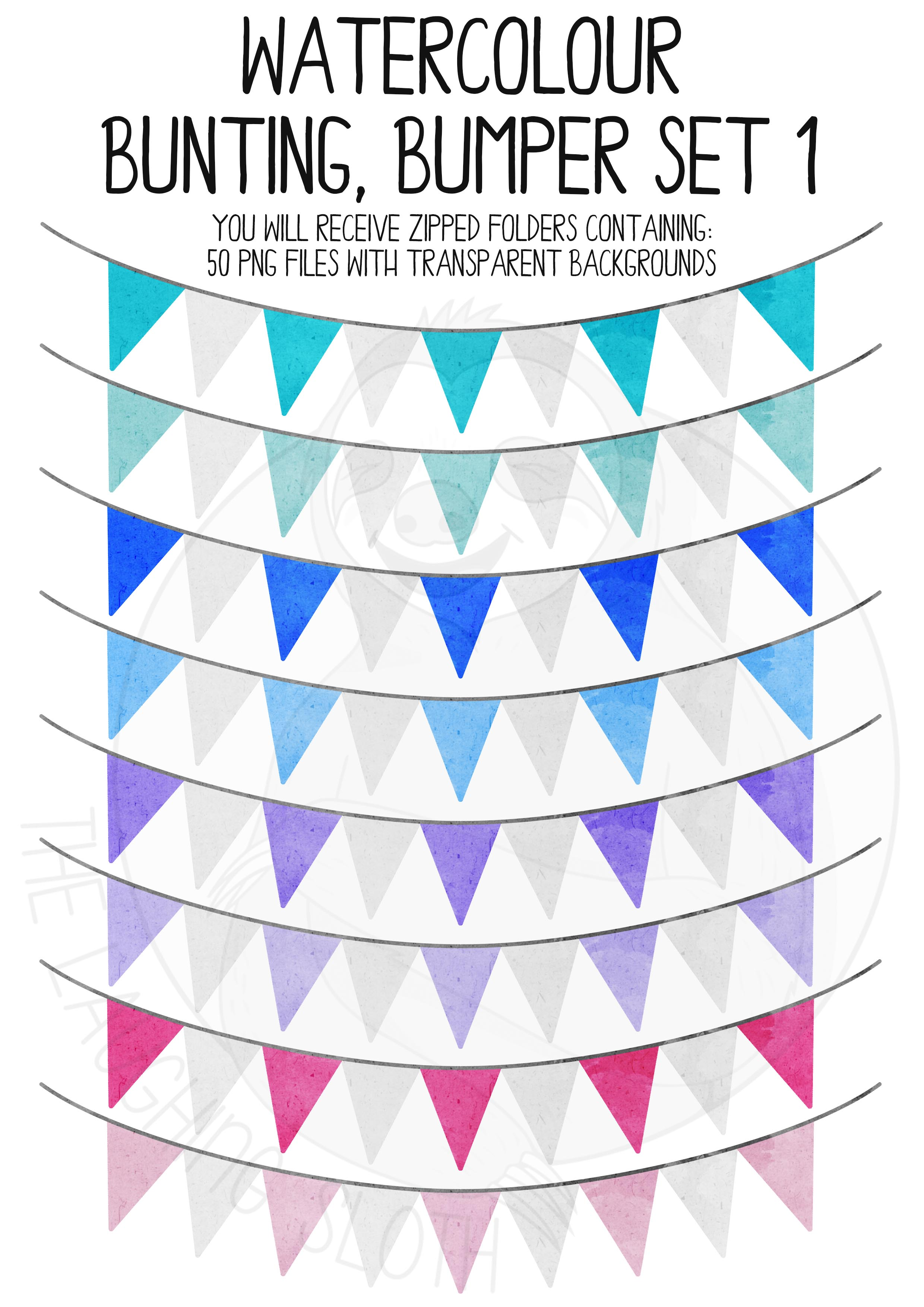 Watercolor Bunting Bumper Clipart Set example image 6