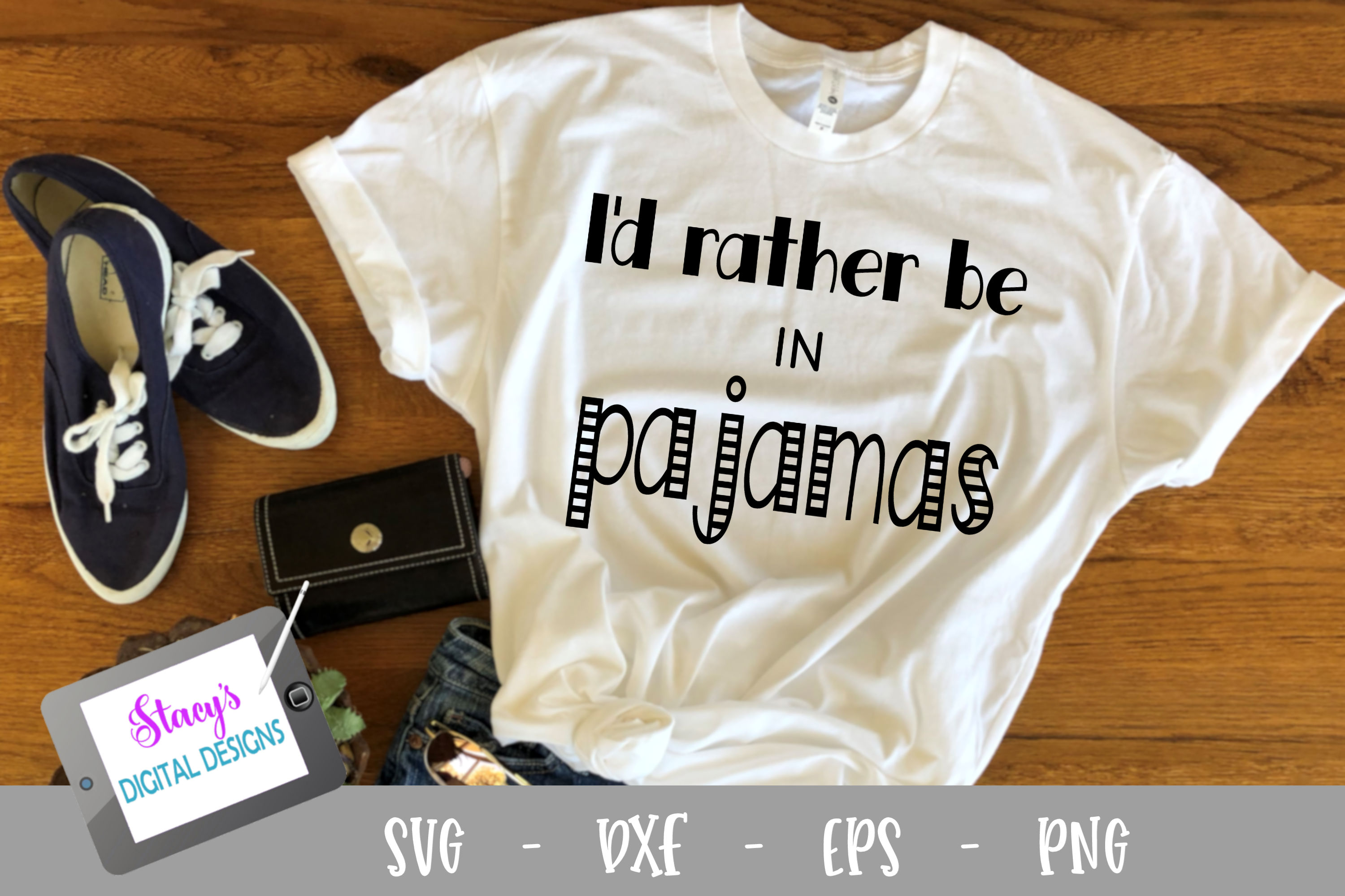 I'd rather be in pajamas SVG - Funny SVG example image 2