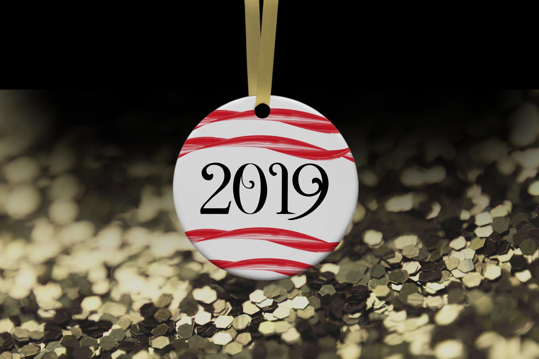 Christmas Ornament Mockup, Gold Sparkles, Smart Object & JPG example image 3