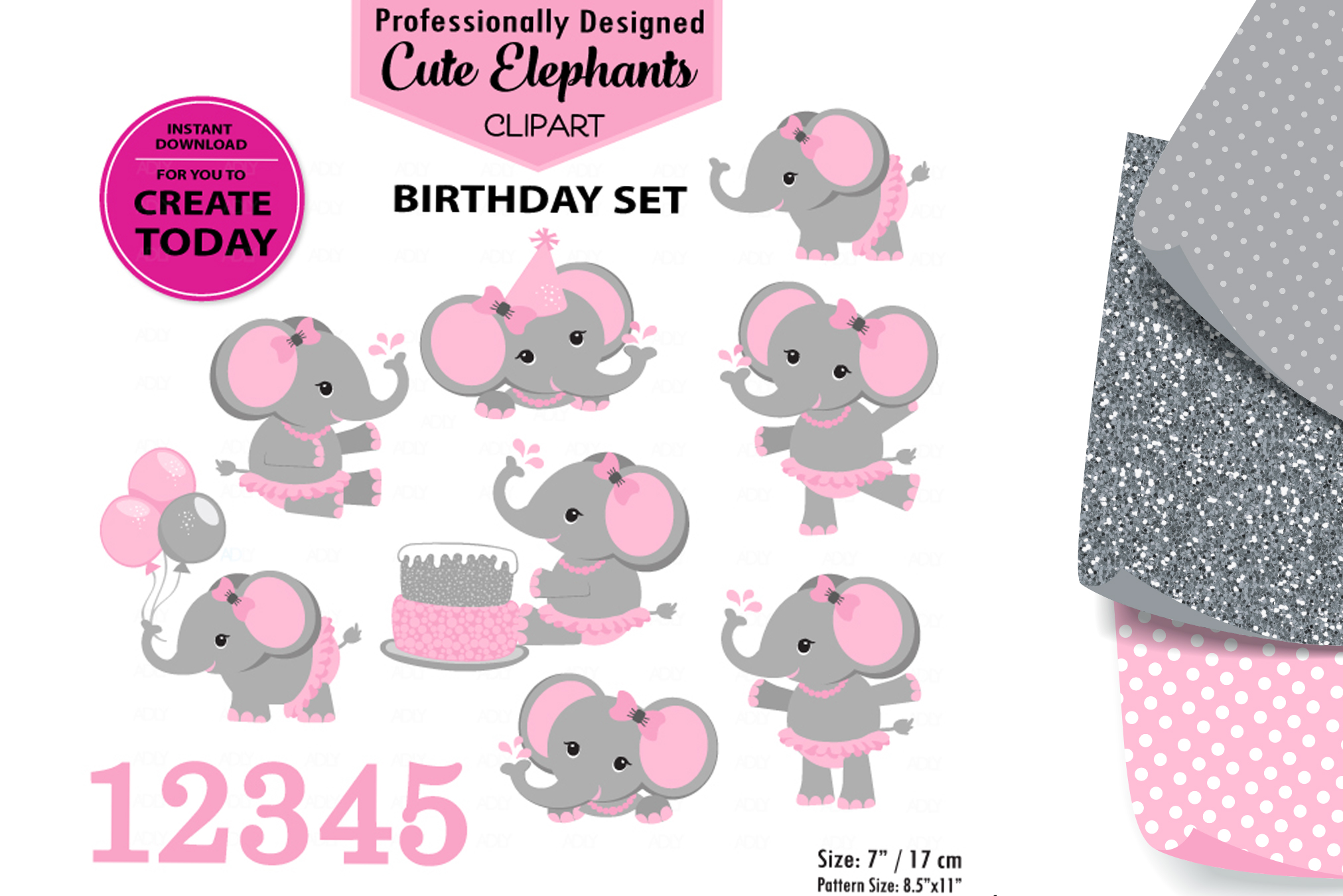 Pink Cute Baby Flower Birthday Cake Elephant. example image 1