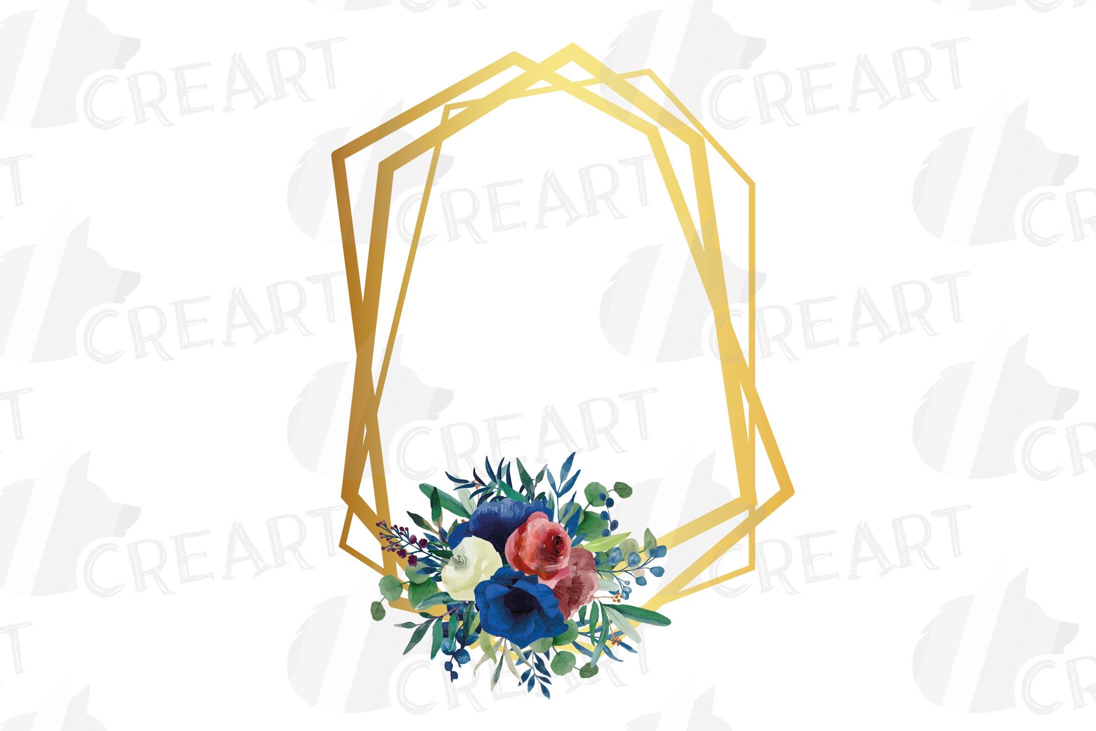 Watercolor elegant floral borders clip art. Wedding frames example image 16
