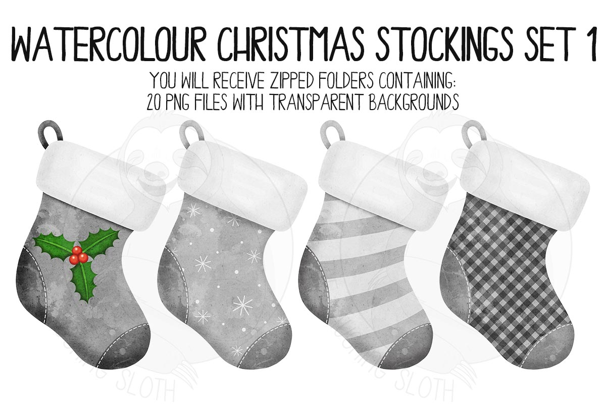 Watercolor Christmas Stocking Clipart example image 5