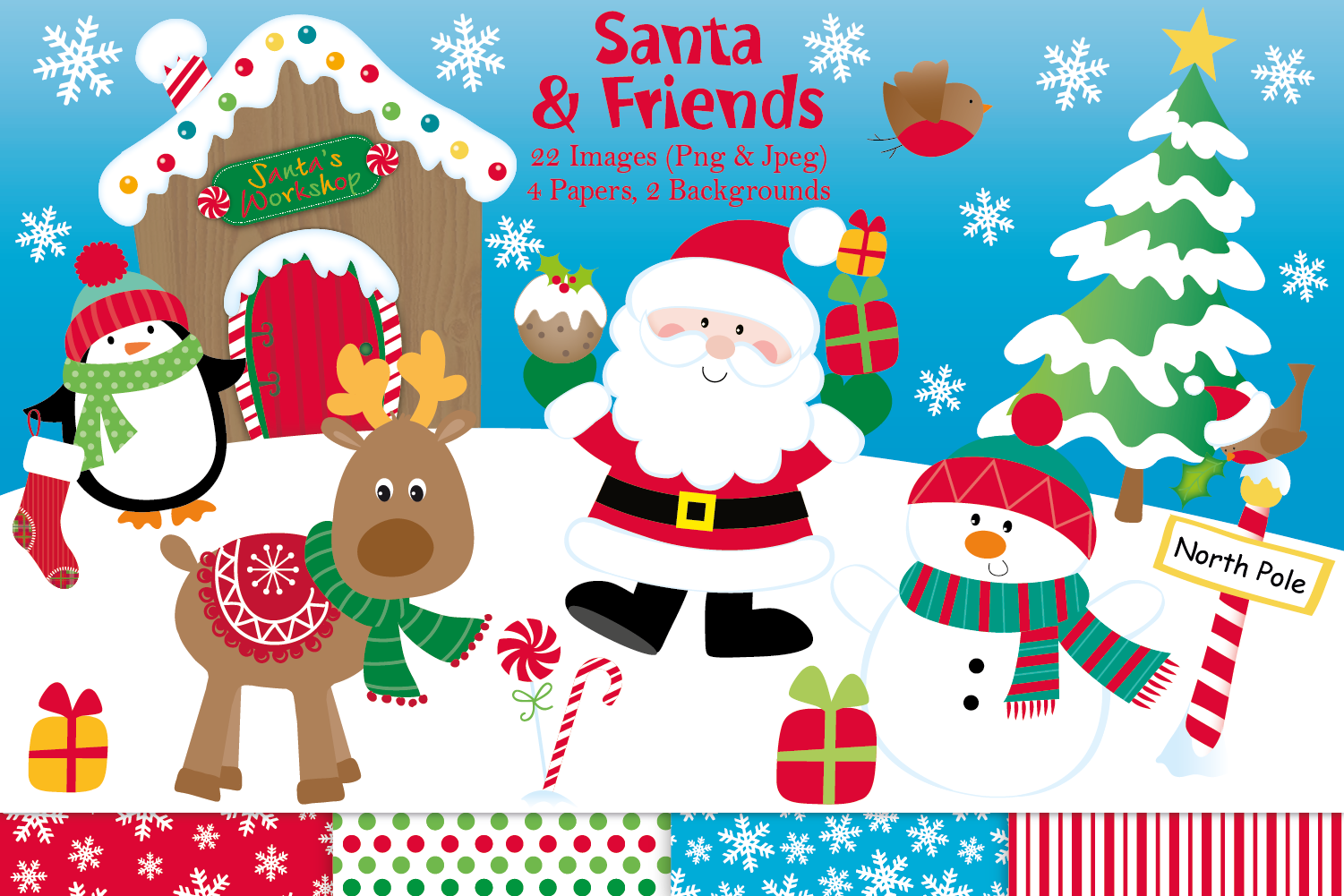 Christmas Illustrations.Christmas Clipart Christmas Graphics Illustrations Santa