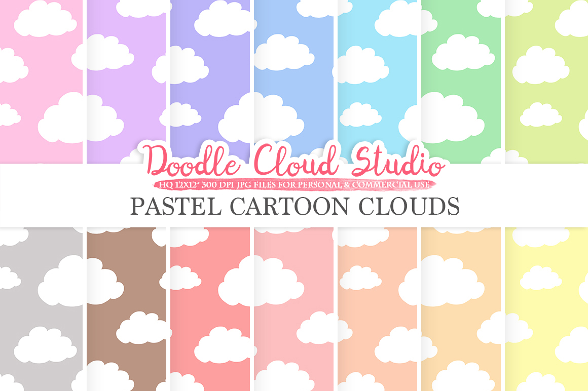 Pastel Cartoon Clouds digital paper, Cloud pattern, Digital Clouds, pastel colors background, Instant Download for Personal & Commercial Use example image 1