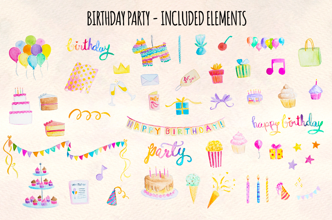 51 Happy Birthday Cute Watercolor Party Elements example image 2