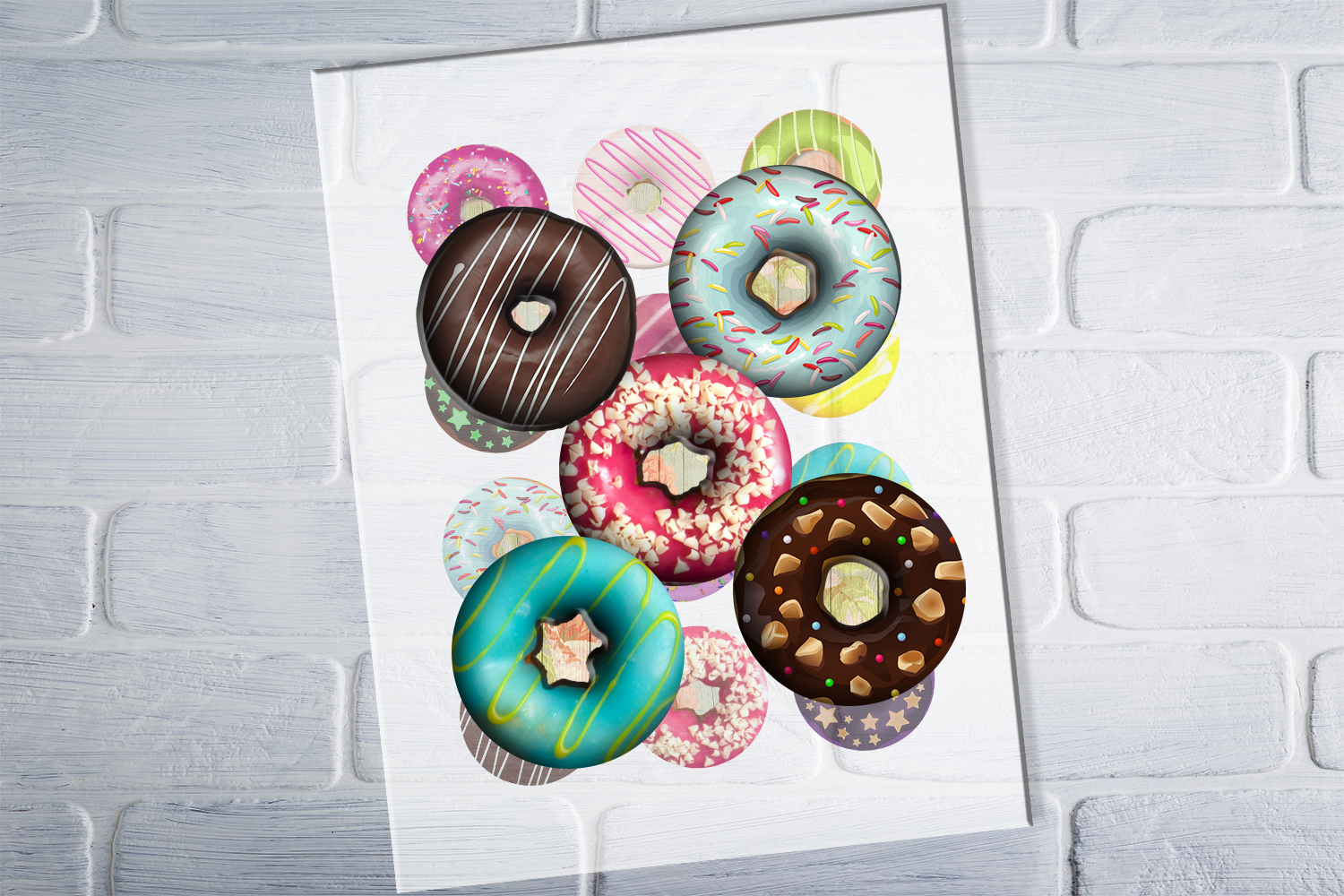 Donuts Printable Round images, Digital Collage Sheet, 50 OFF example image 3
