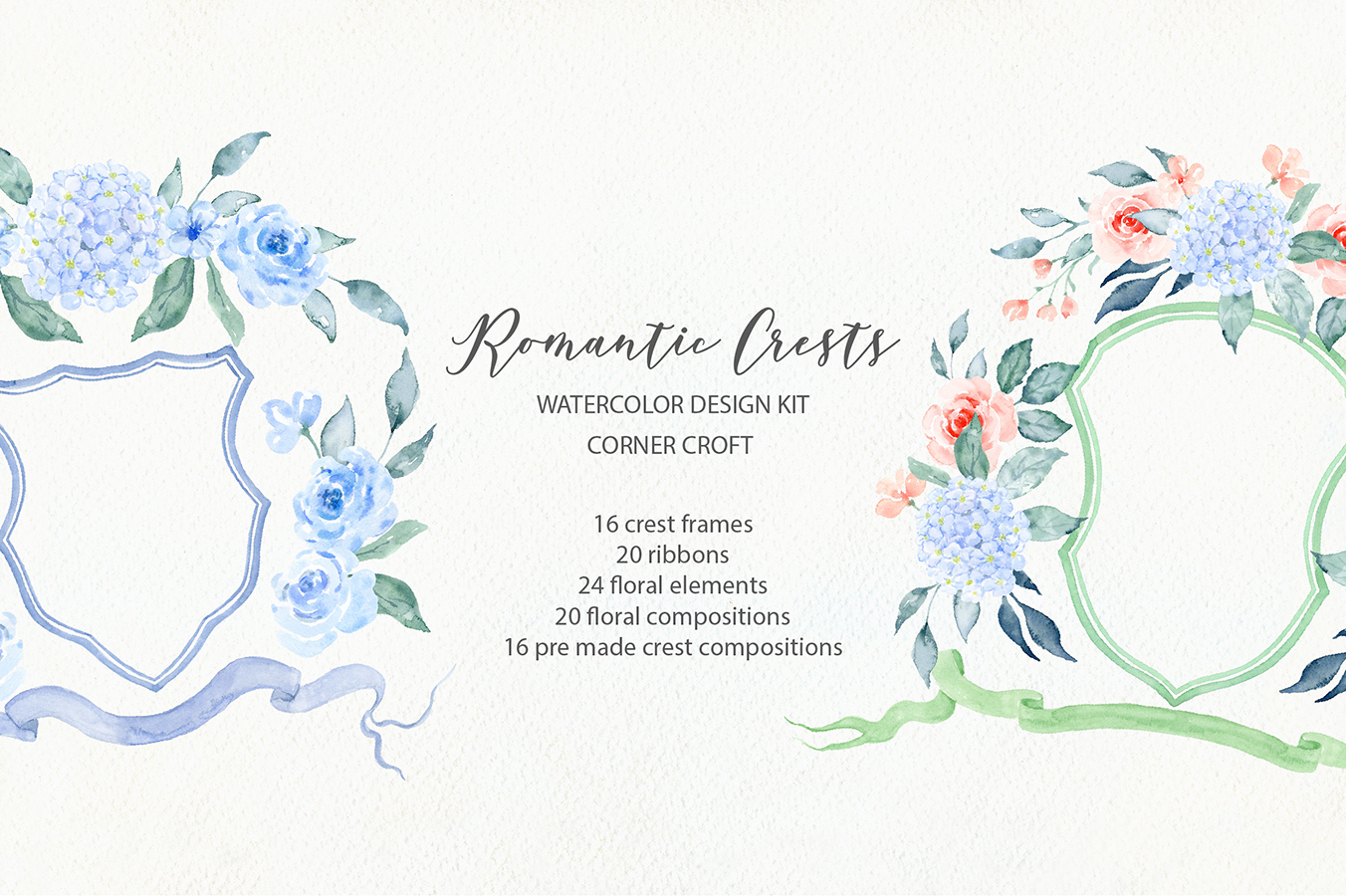 Watercolor Romantic Crest Design Kit example image 2