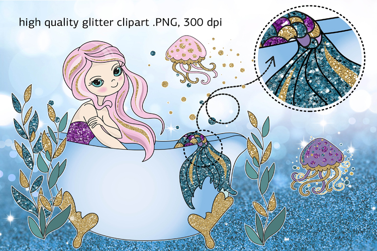 BEAUTIFUL MERMAID Vector Illustration Set example image 2
