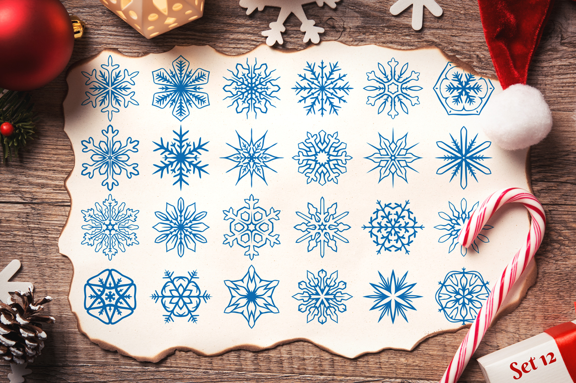 500 Snowflake Vector Ornaments example image 22