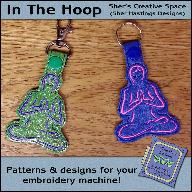 ITH Yoga Vinyl Key Fob or Bag Tag - Snap Tab Machine Embroidery