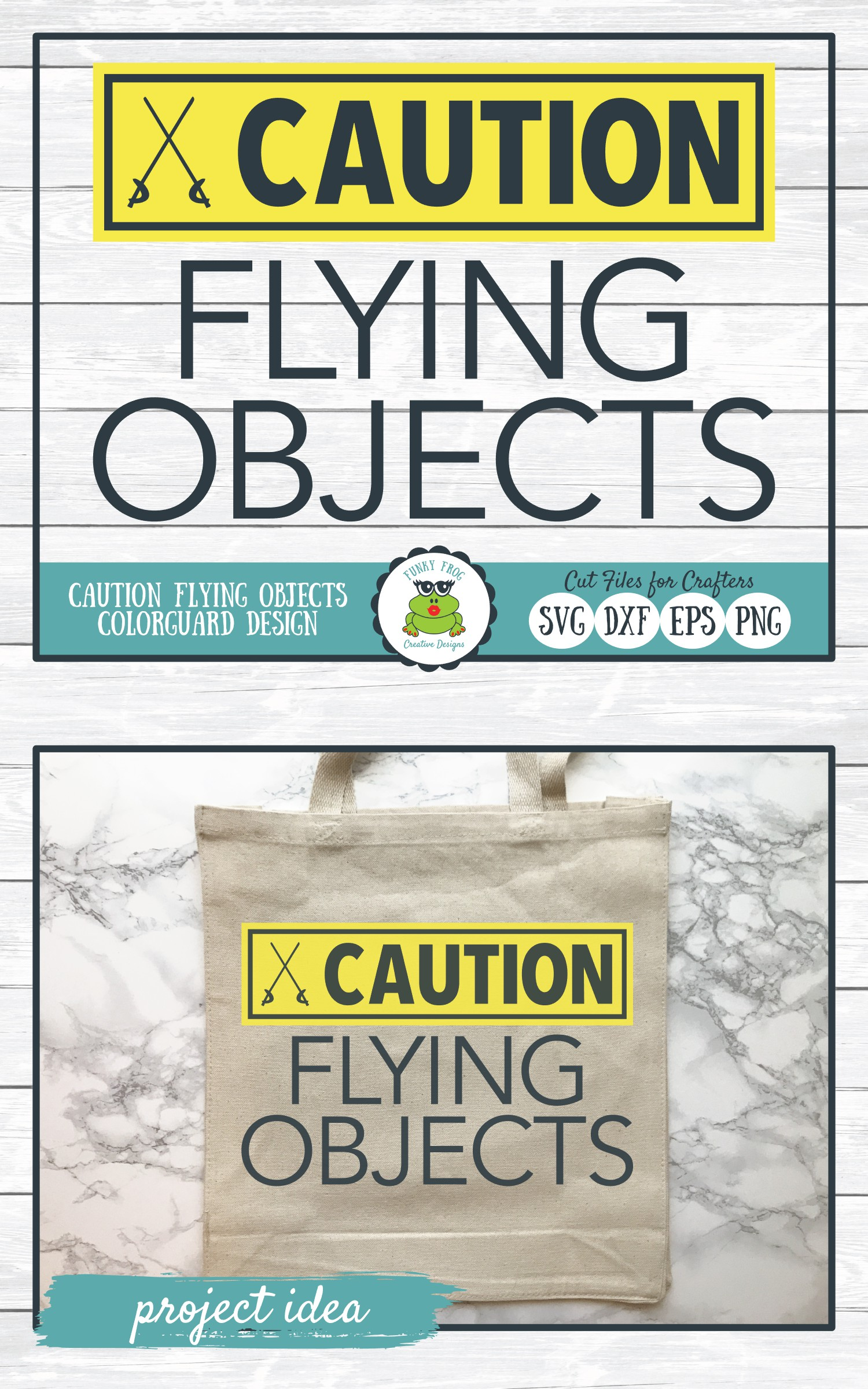 Caution Flying Objects, Color Guard SVG Cut File example image 4