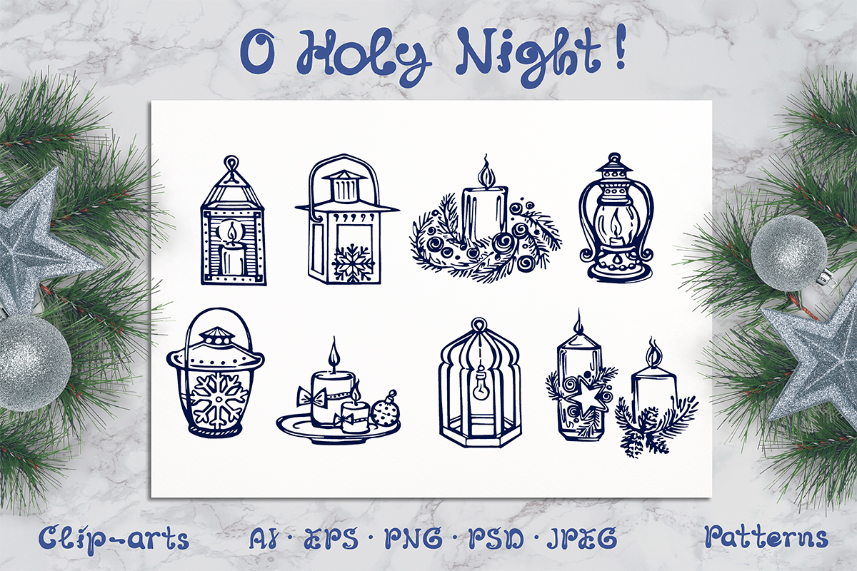 Hand drawn candles and lanterns, patterns and greeting cards example image 1