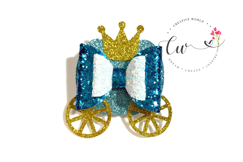 Princess Pumpkin Carriage Hair Bow Digital Template example image 1