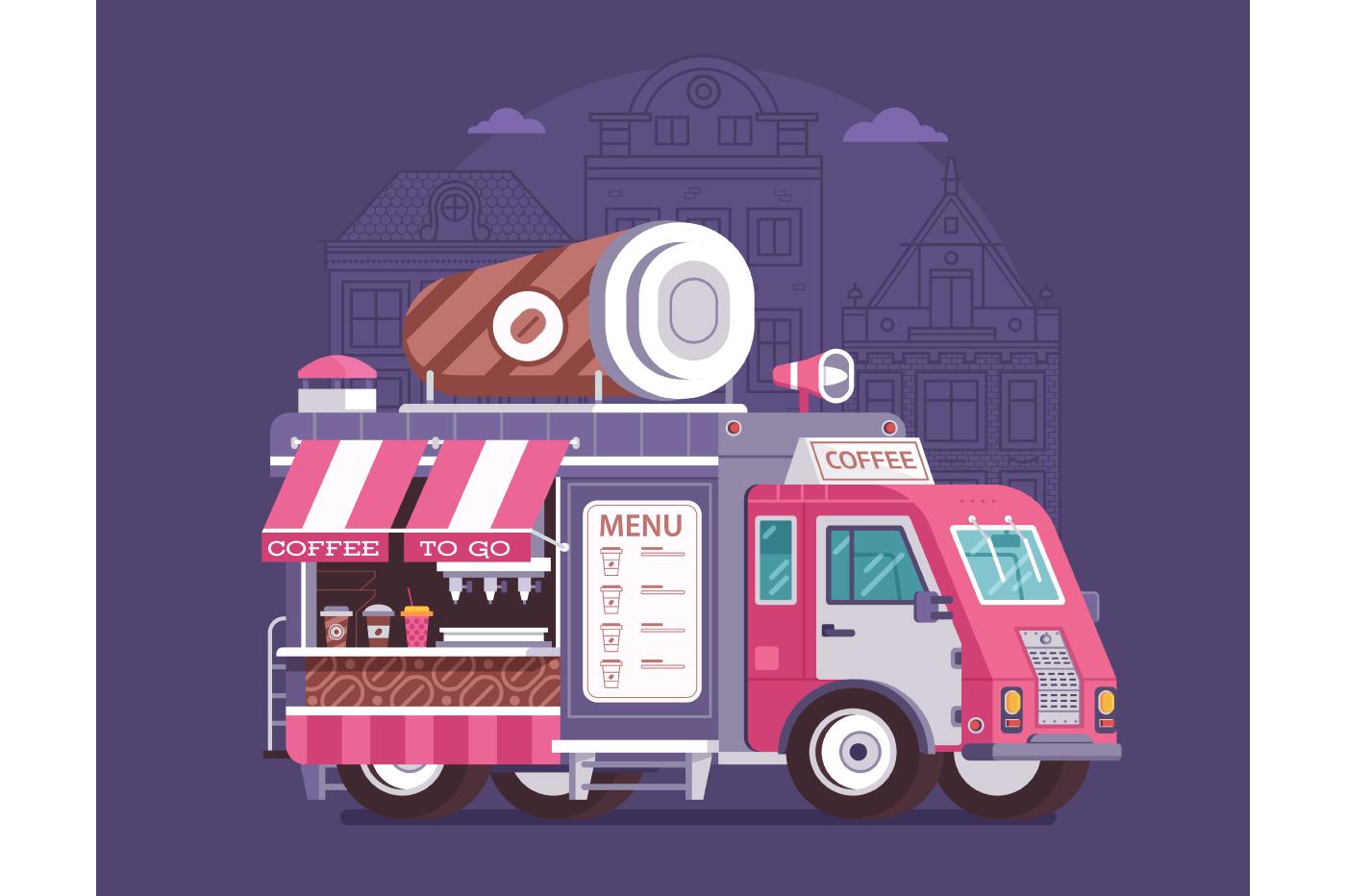 Street Coffee Van on City Background example image 1