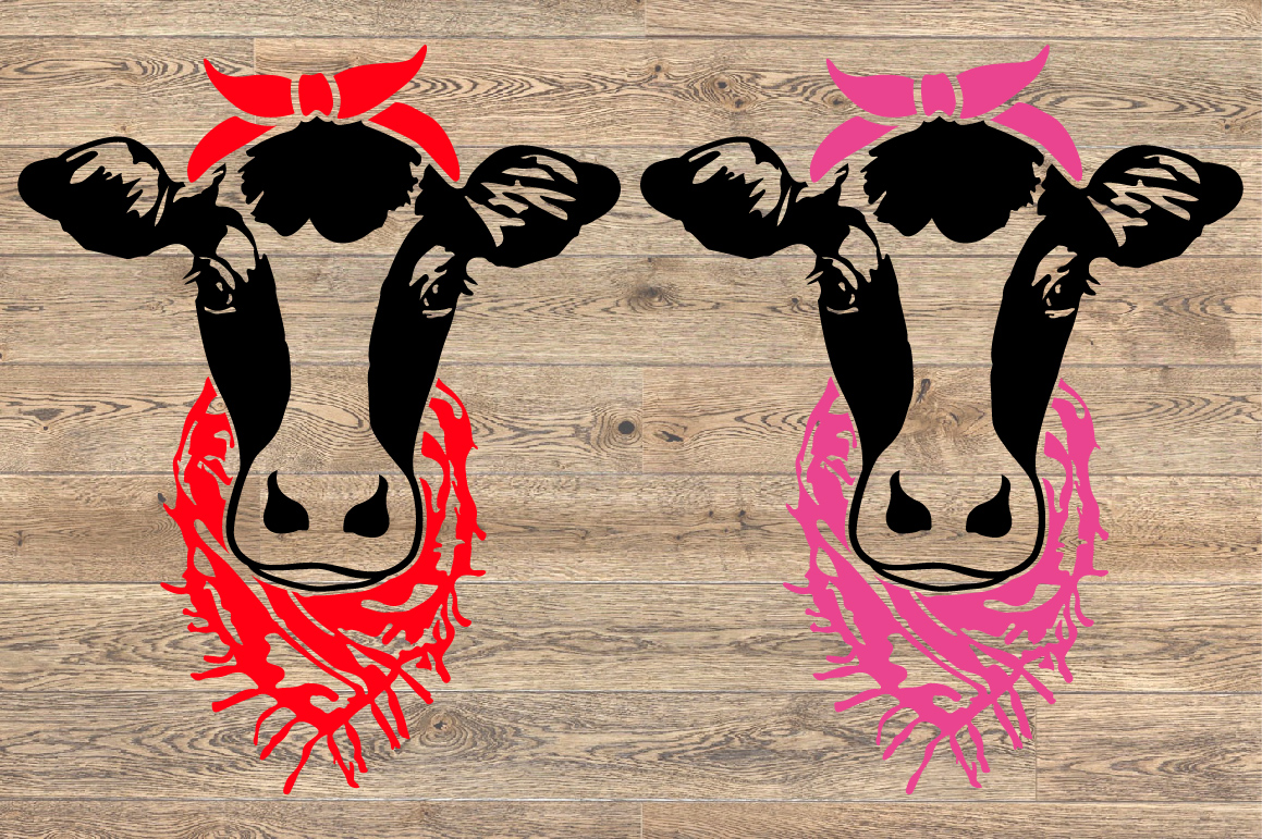 Cow Head whit Bandana and scarf SVG cowboy Farm 1269s example image 2