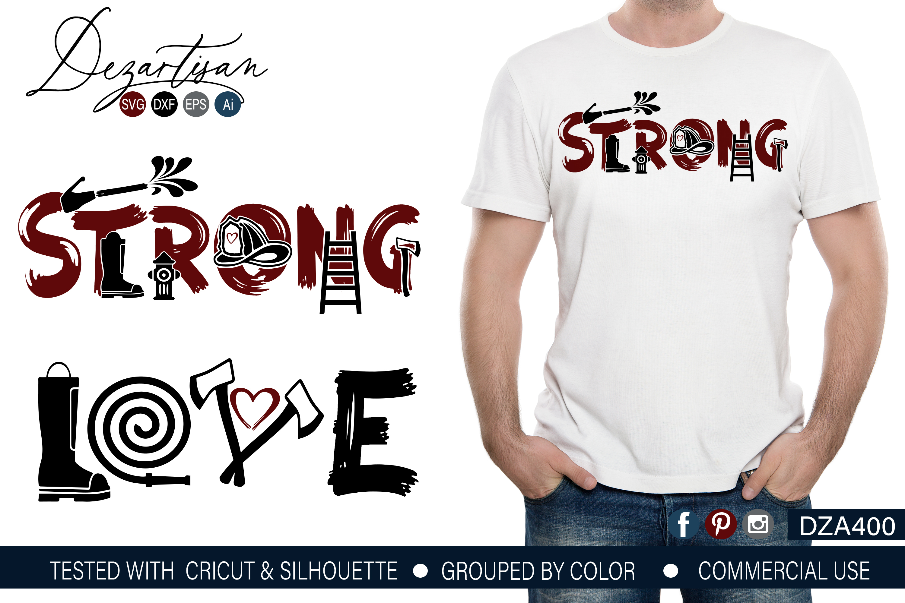 Fireman Strong Love SVG | DXF File example image 1