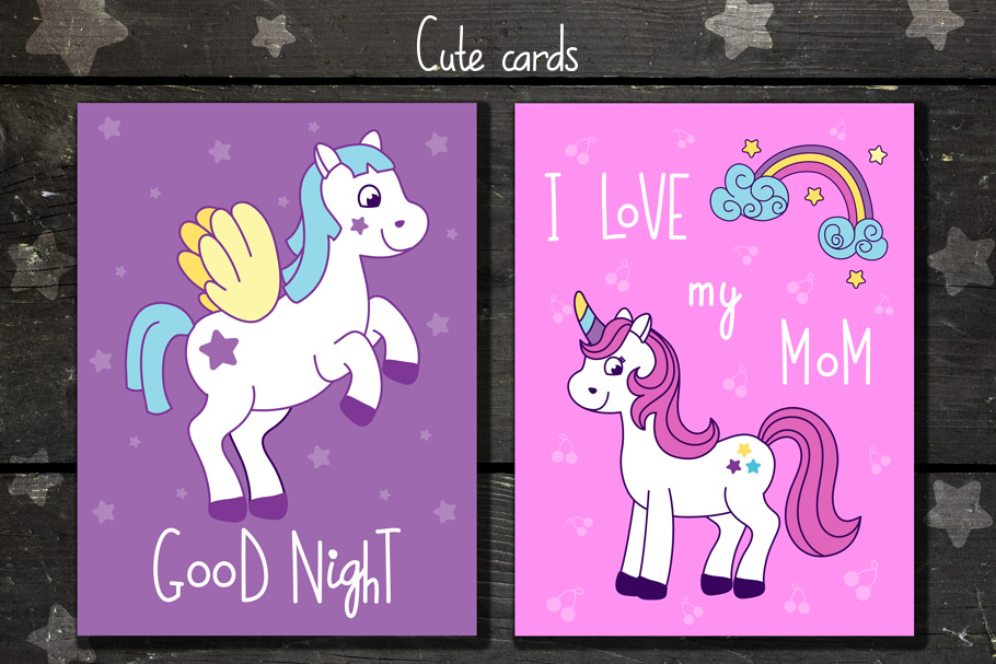 Unicorns vector set and alphabet bonus example image 2