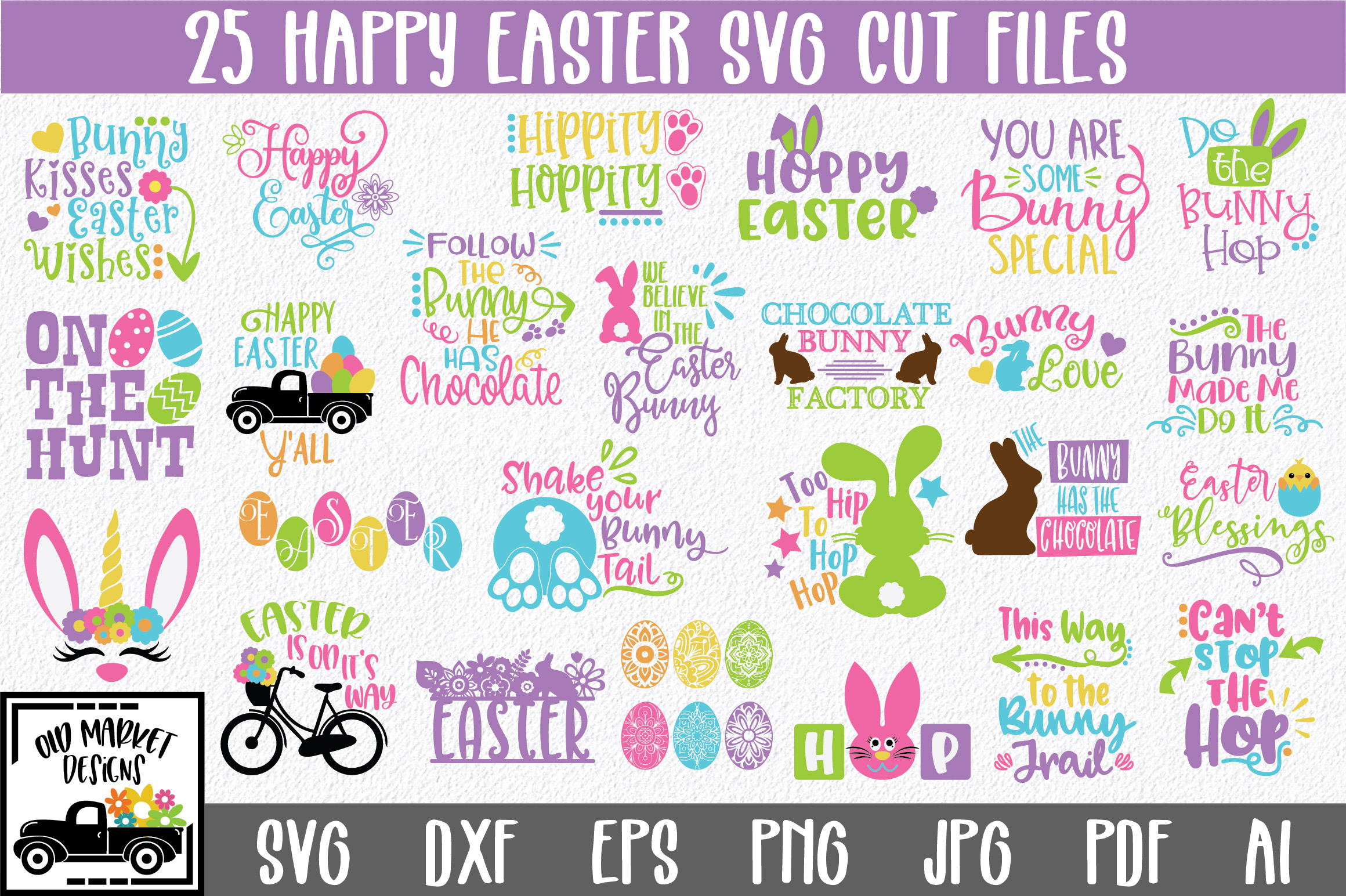 Easter SVG Bundle with 25 SVG Cut Files DXF EPS PNG AI JPG example image 1
