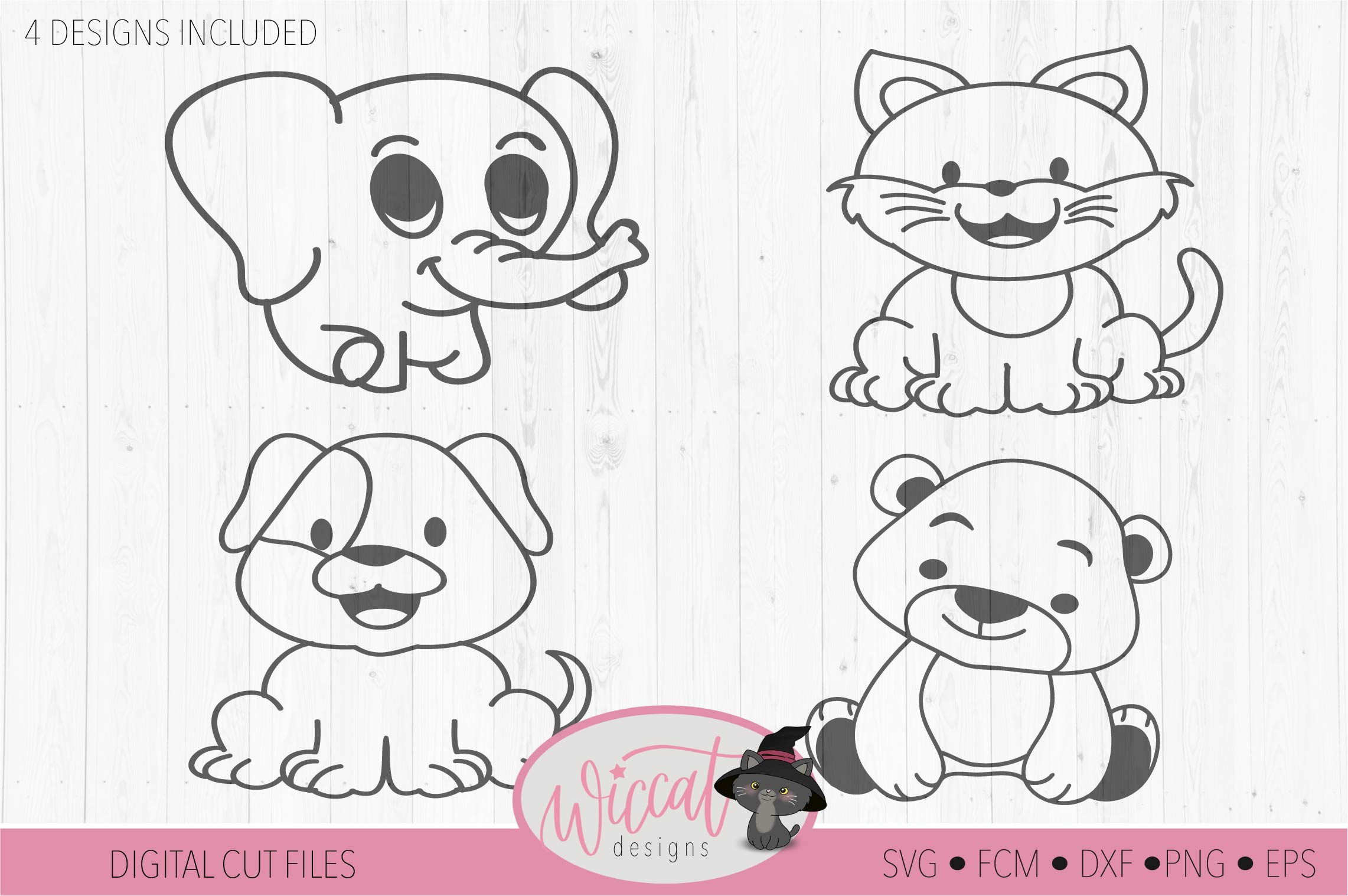 Cute Coloring animal cut files, collection baby animals example image 3