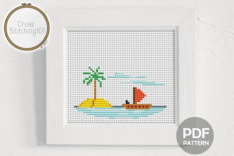 Beach Scene Cross Stitch Pattern PDF example image 1