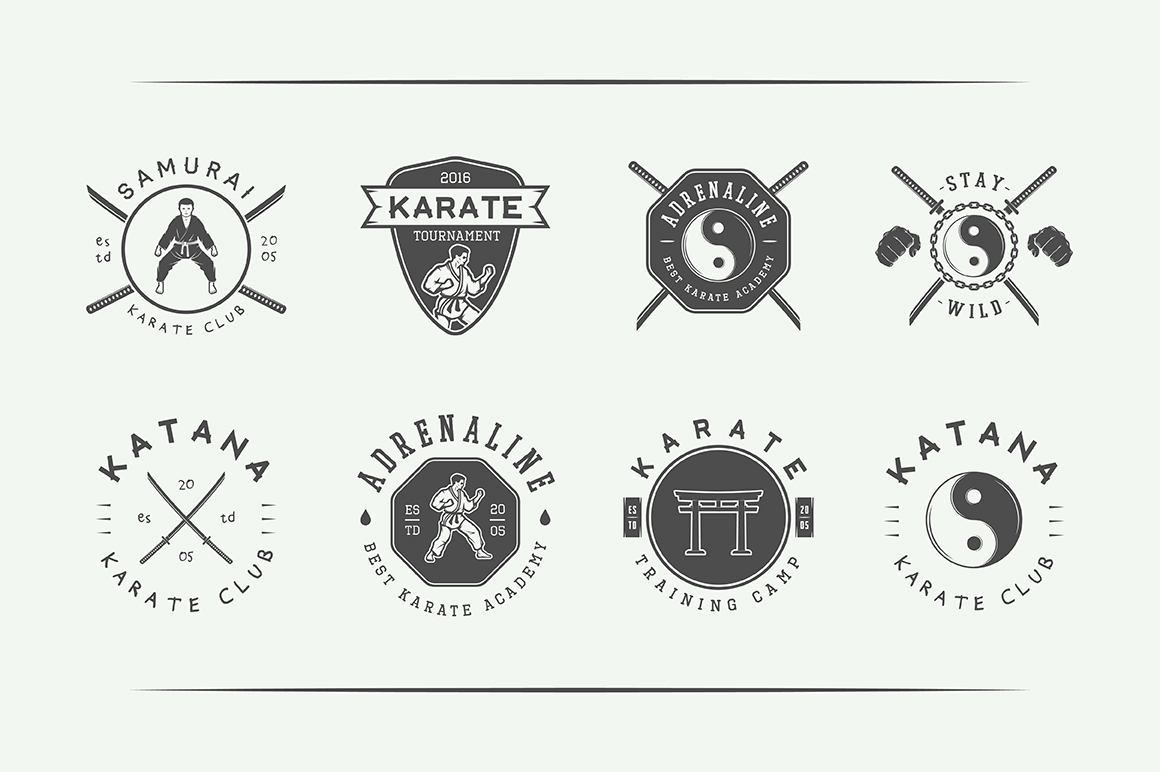 Vintage Karate Emblems Bundle example image 8