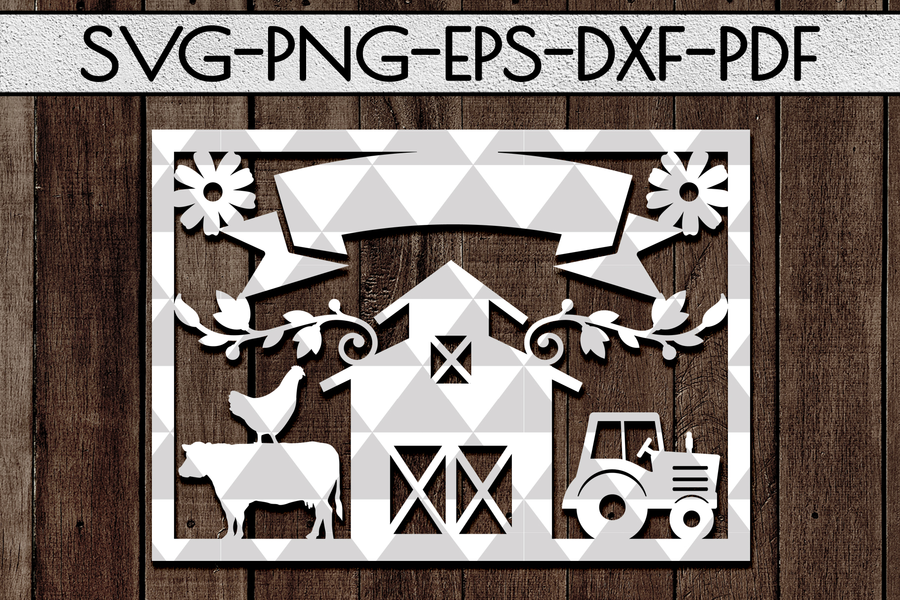 Customizable Farm Papercut Template, Farmhouse Themed, PDF example image 1