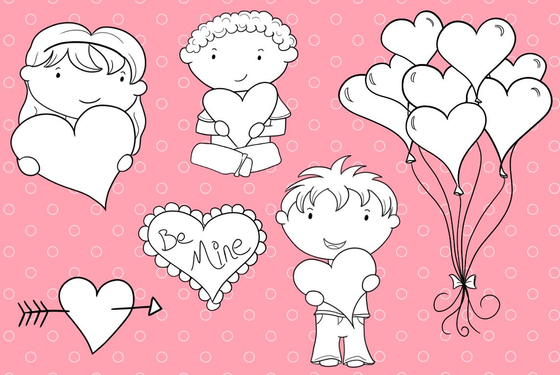 Valentine Kids Digital Stamps example image 3