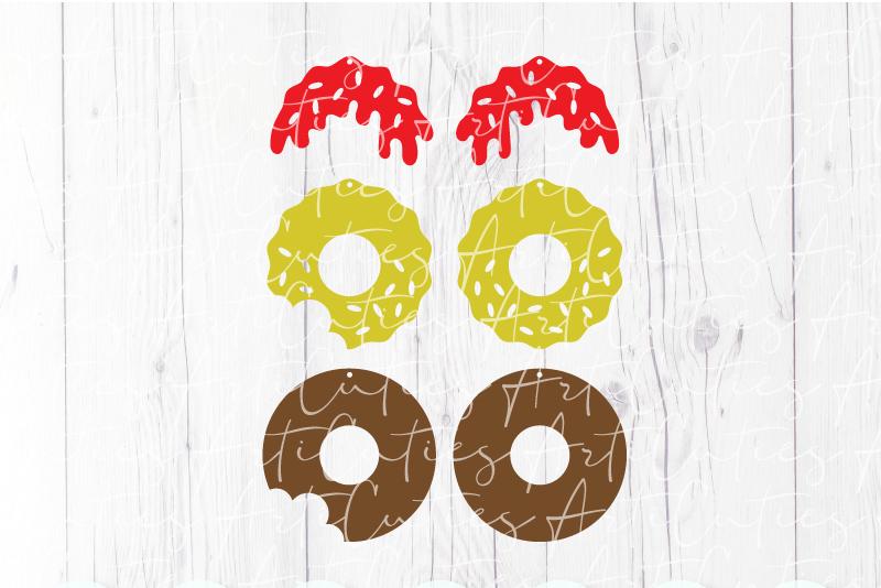 Donut earrings template SVG, DIY earrings template example image 2