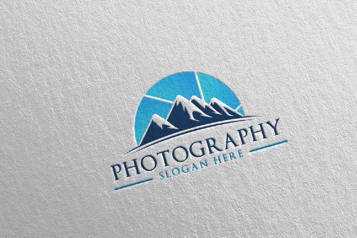 Abstract Mountain Camera Photography Logo 13 example image 2