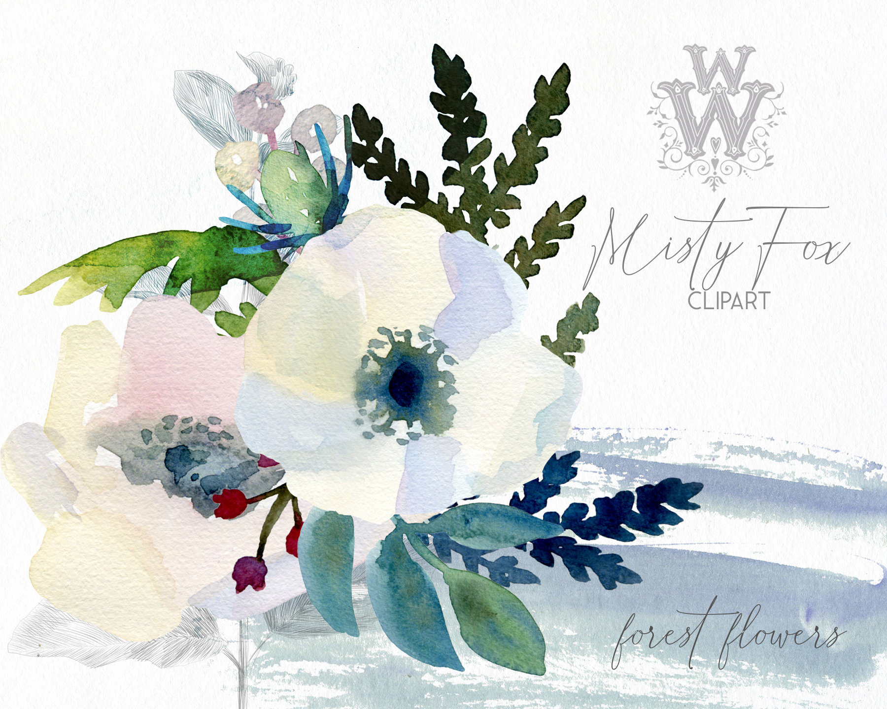 Watercolor forest flowers clipart, fox graphics wedding art example image 7