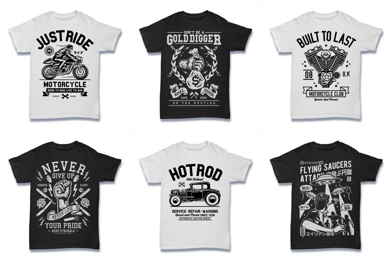 100  Vector Tshirt Designs ( B/W Concept ) example image 19