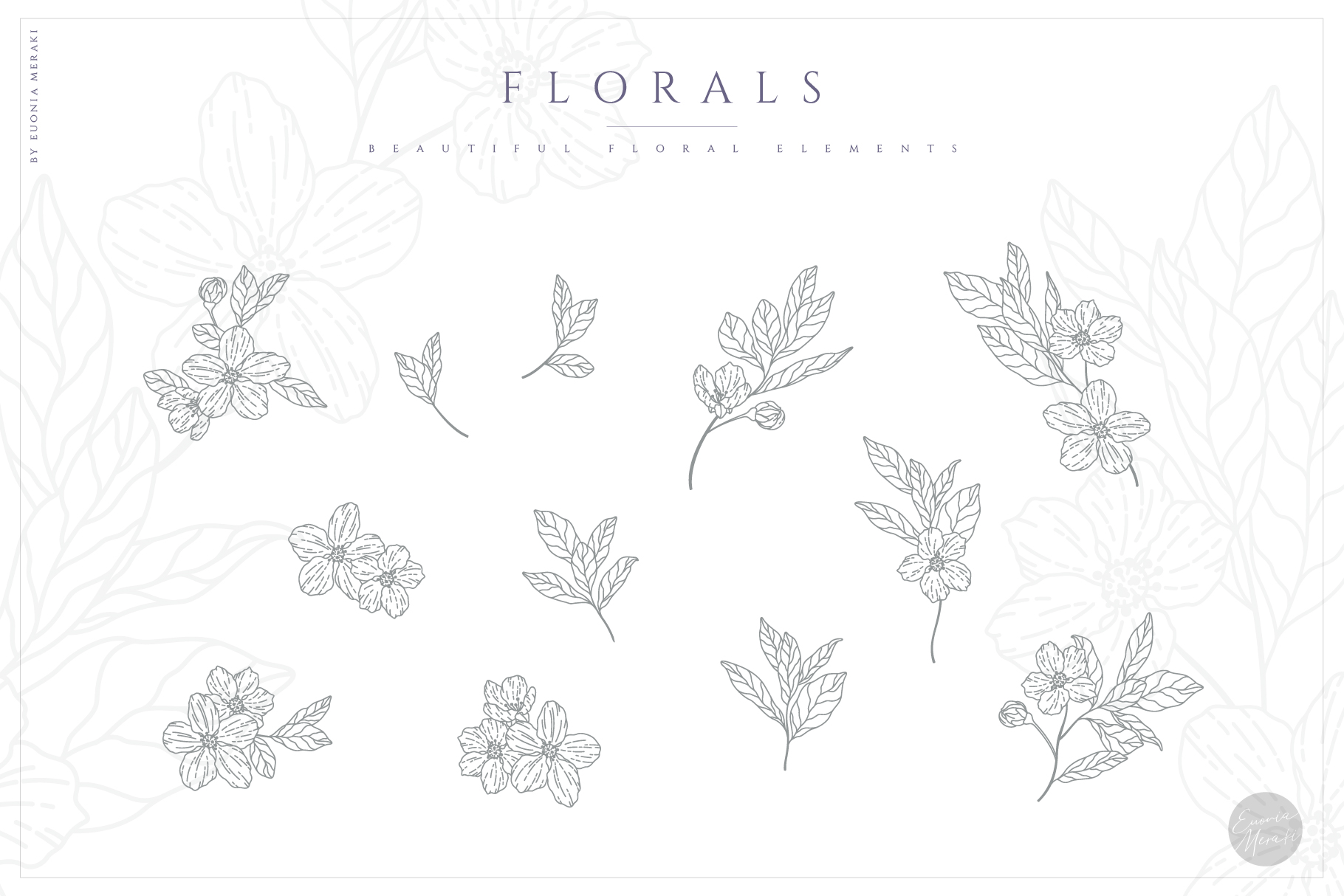 NACRE - monogram and floral graphic set example image 7