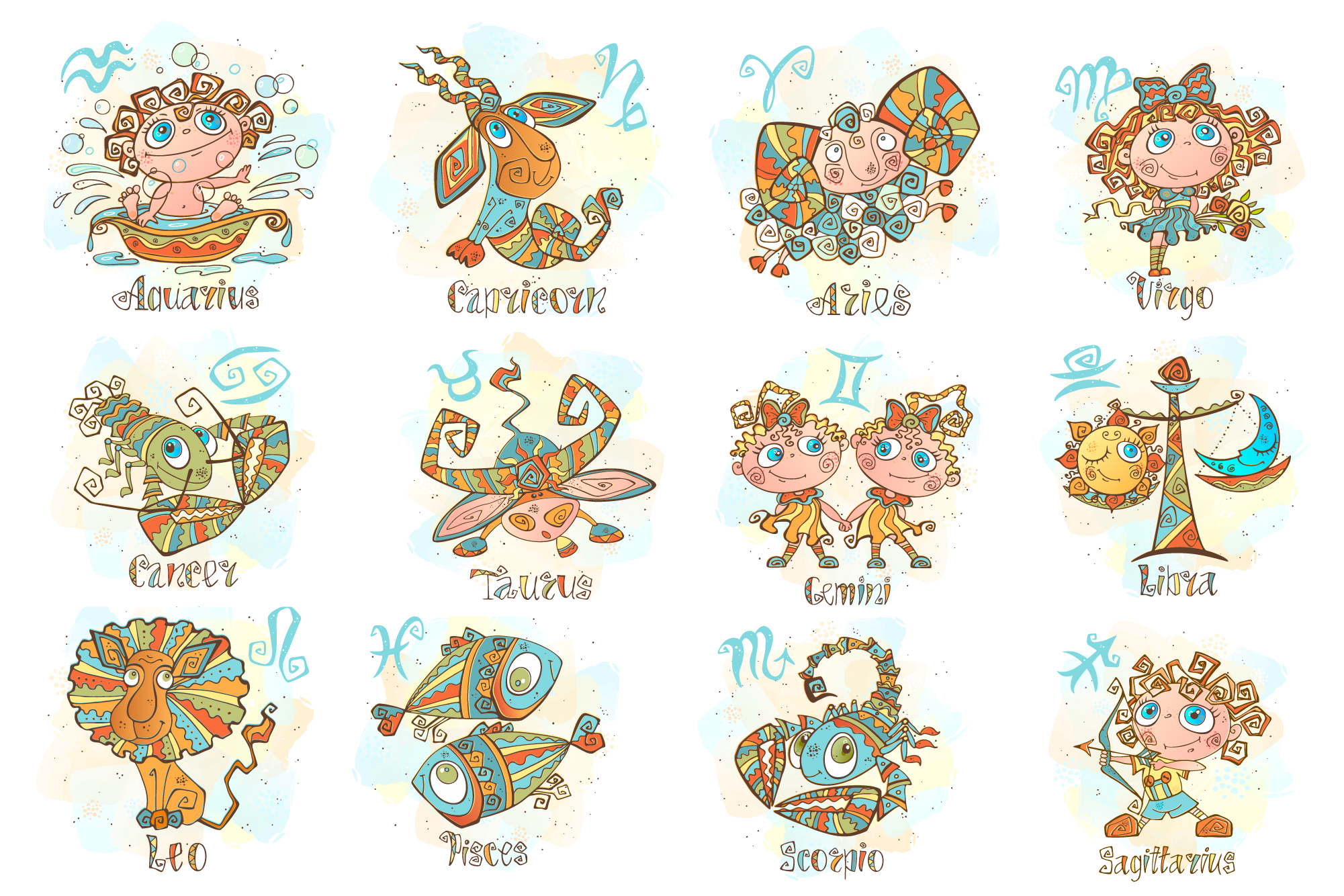 Zodiac signs for children. Funny horoscope in a cute style. example image 2