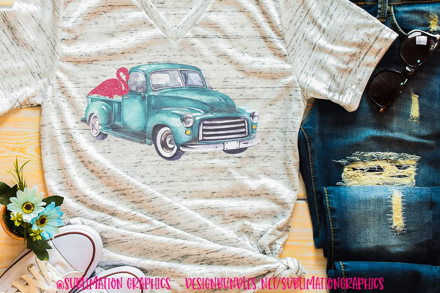 Flamingo Truck Sublimation PNG example image 1