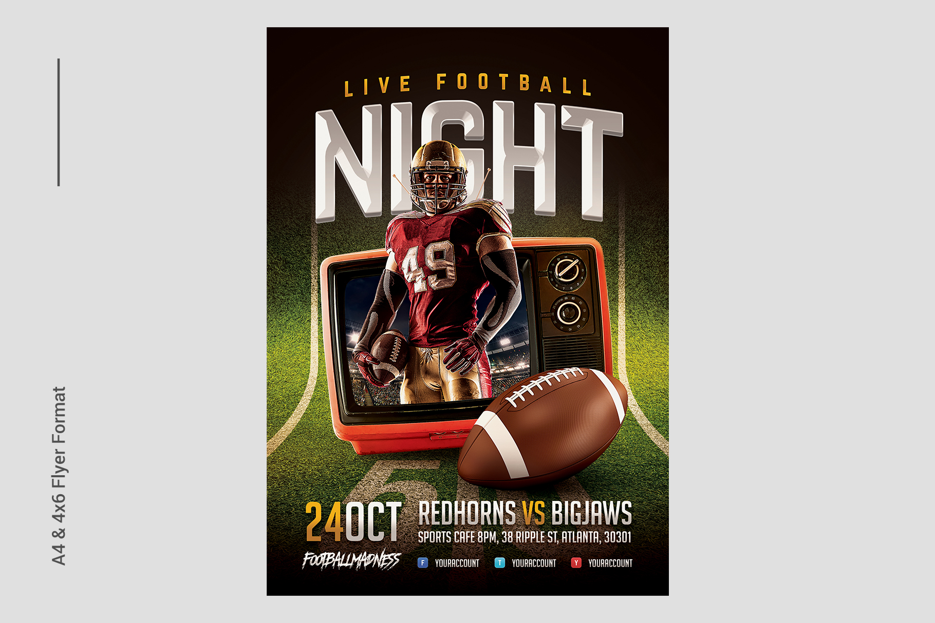 Live Football Flyer Template example image 2