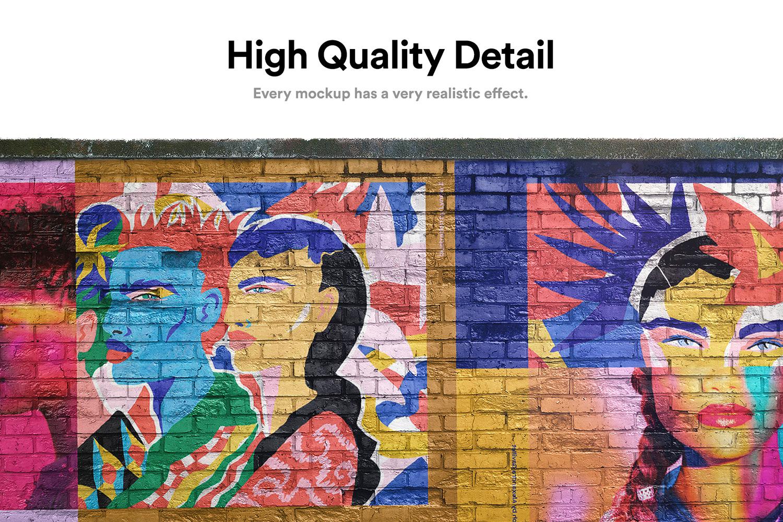 12 Realistic Mural Street Mockup - PSD example image 3