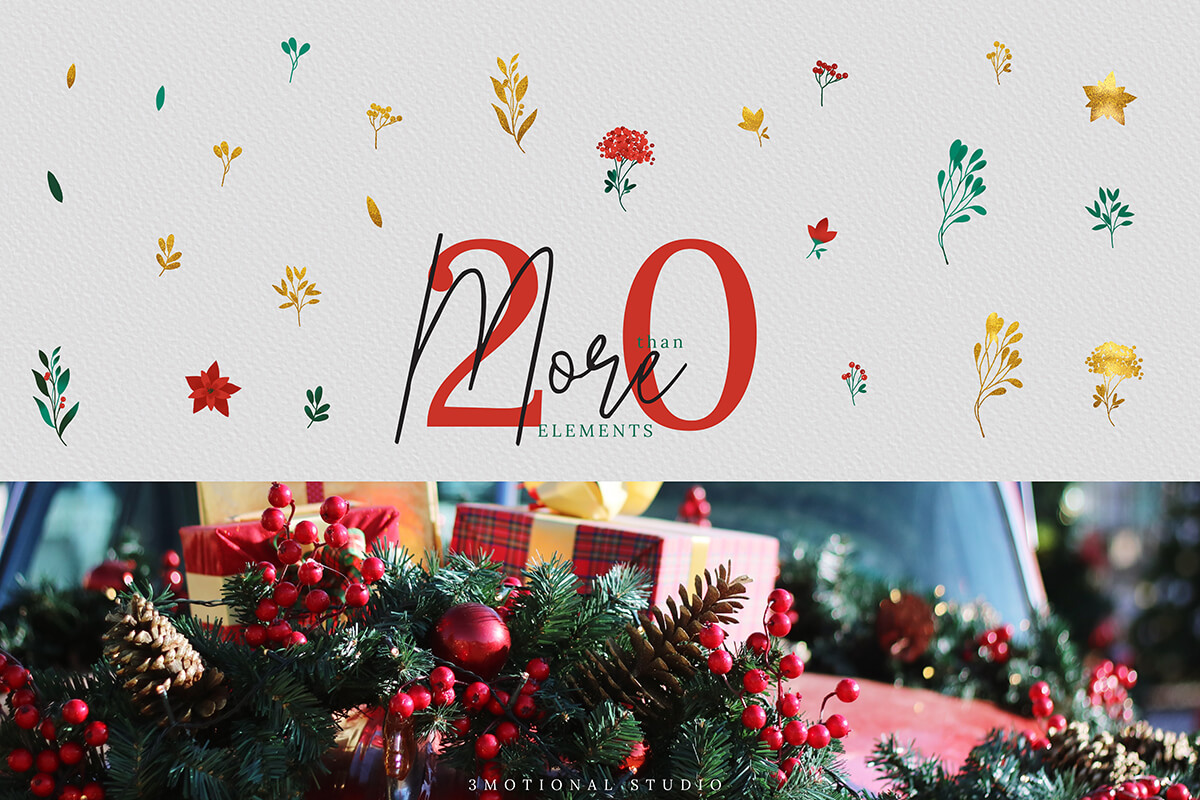 Christmas Watercolor Flowers Clipart Collection example image 4