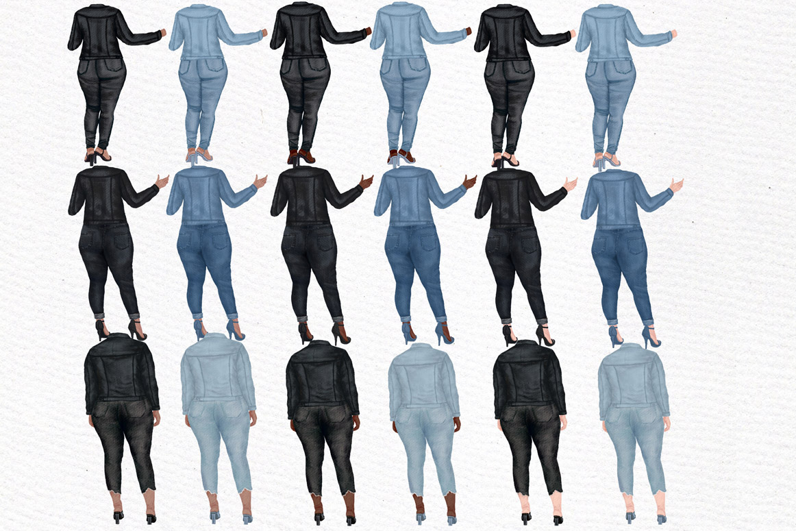 Curvy girls Plus size girls clipart Best Friends clipart example image 6