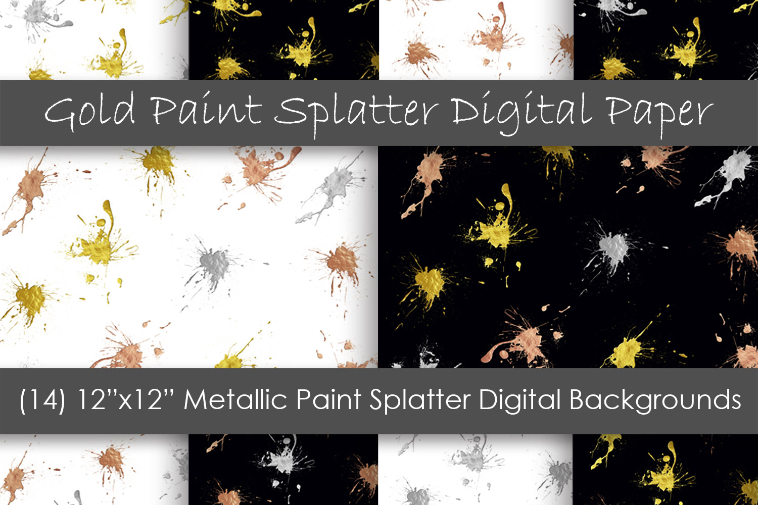 Paint Splatter Digital Papers - Metallic Paint Backgrounds example image 1