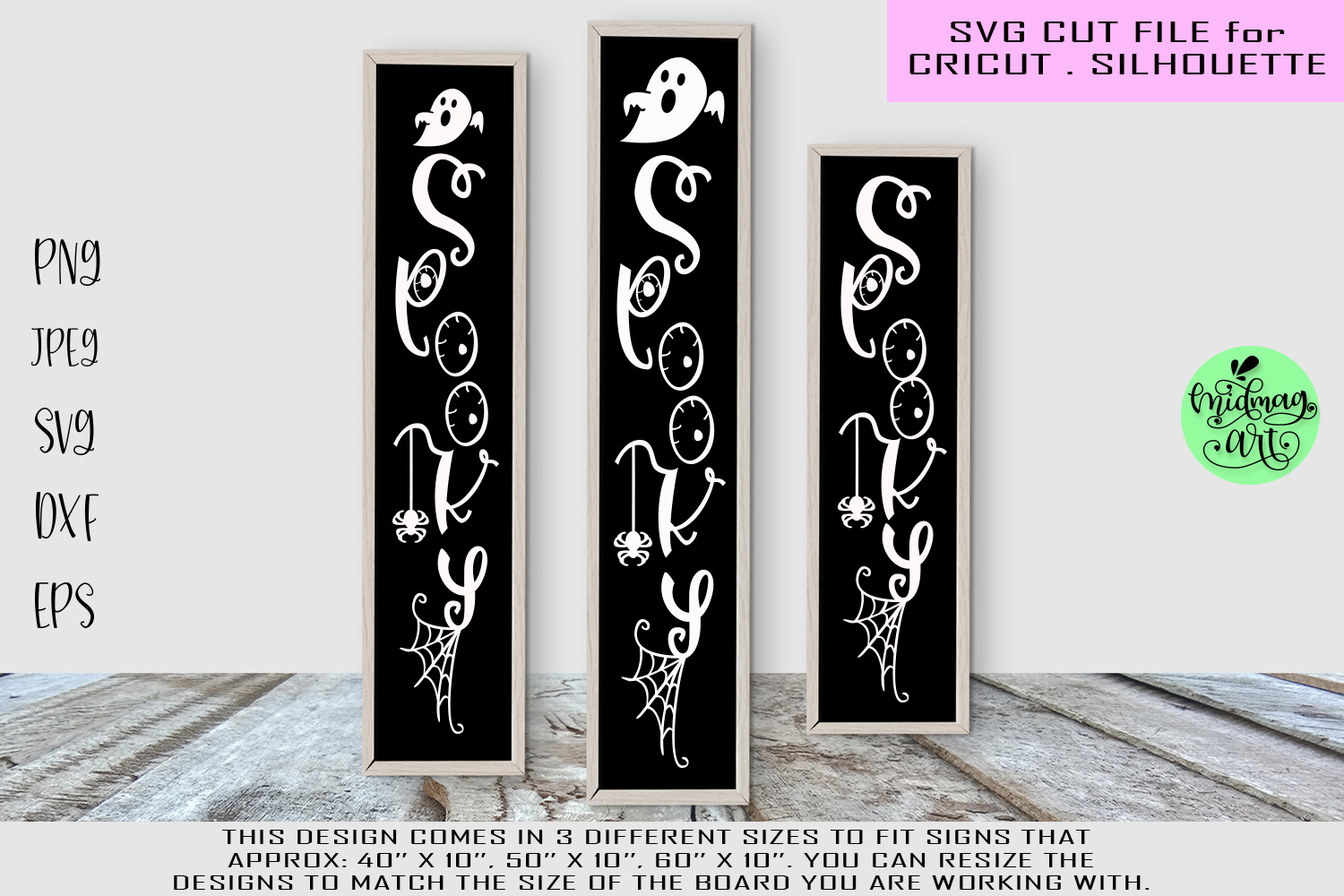 Spooky svg, halloween wood sign svg example image 1