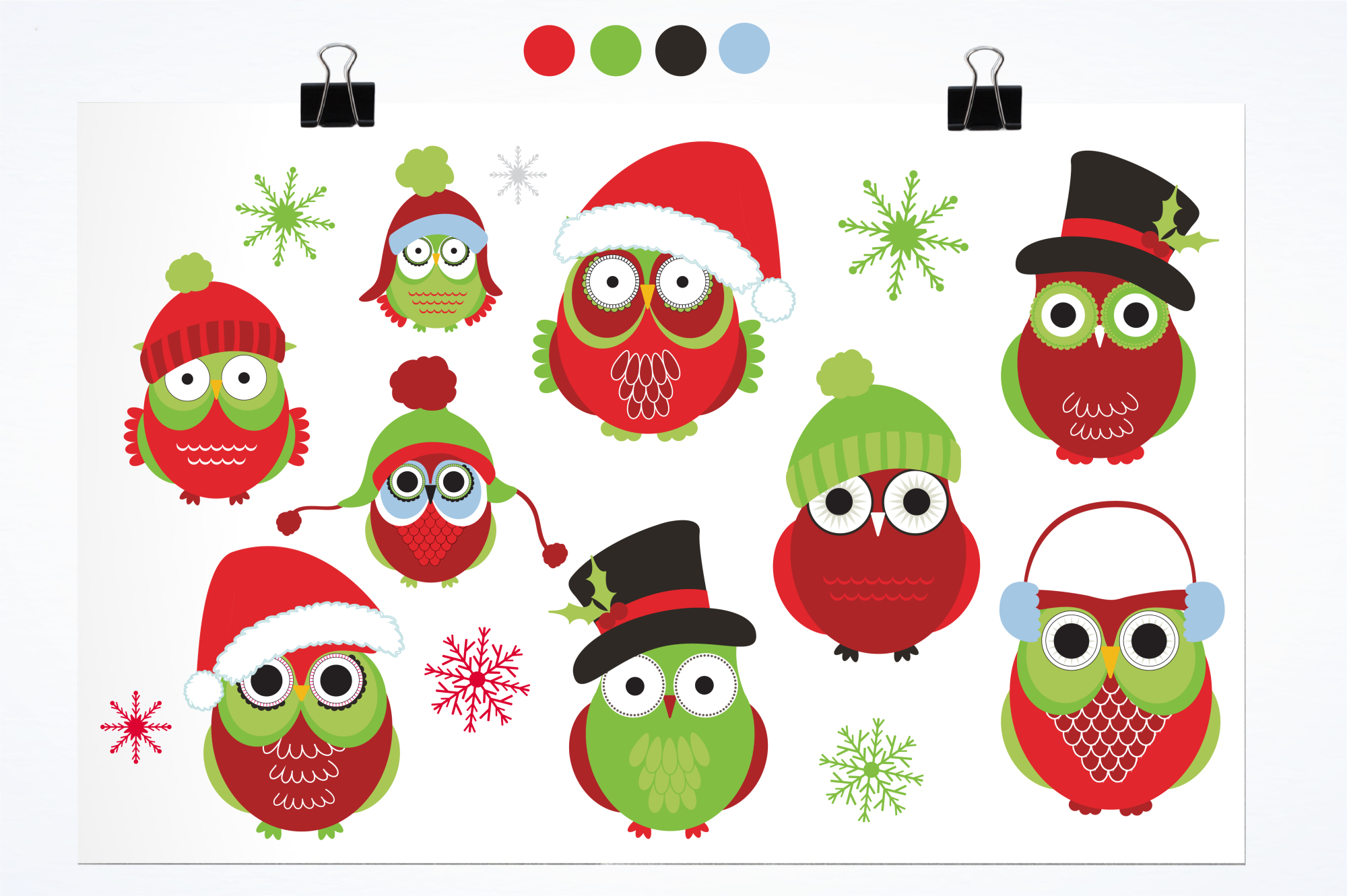 Christmas Owls graphics and illustrations example image 2