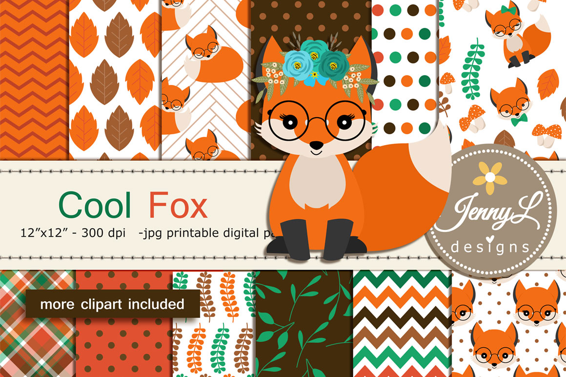 Woodland Fox Digital Papers and Clipart example image 1