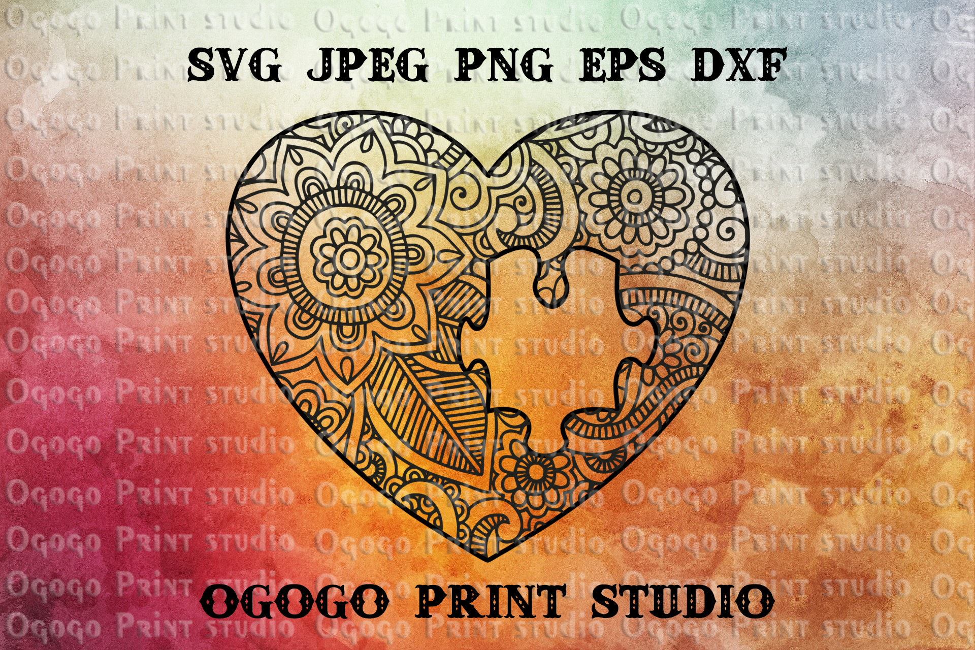 Heart SVG, Autism Awareness svg, Zentangle SVG, Puzzle svg example image 1